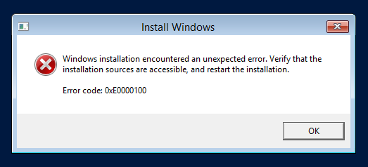 Error during Windows Server 2012 installation