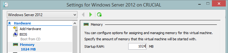 Memory assigned to virtual machine in Hyper-V