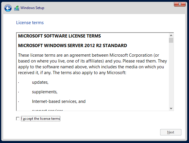 Windows Server License Terms