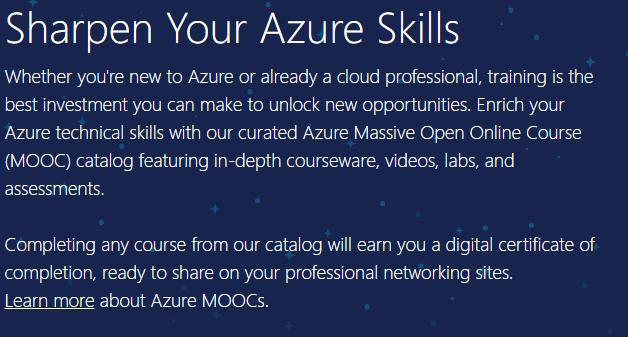 Azure free official courses Azure Massive Open Online Course