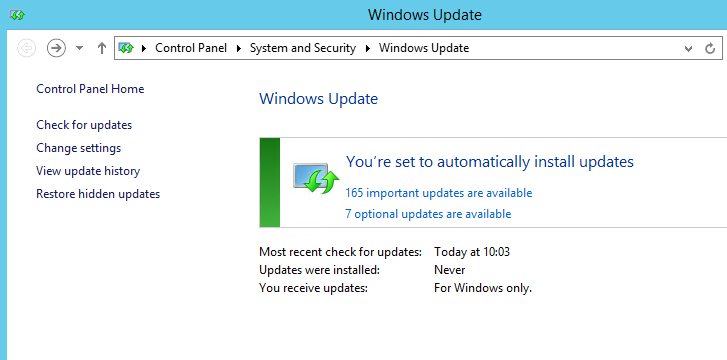 WSUS updates not available on client machine