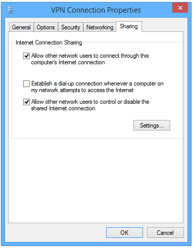 VPN connection sharing to other users.
