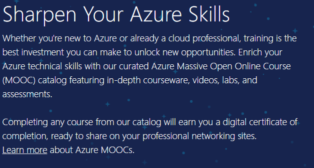 Azure free official courses Azure Massive Open Online Course