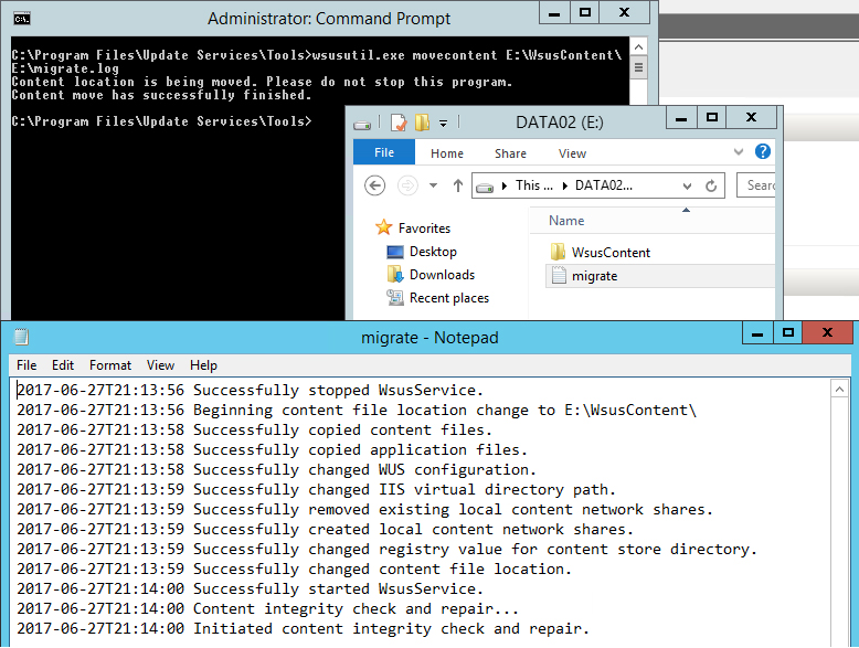 How migrate WSUS content to another disk
