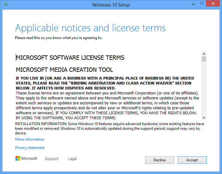 Windows Media Creation Tool License