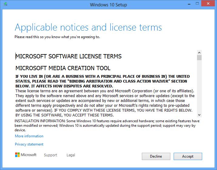 Windows Media Creation Tool License