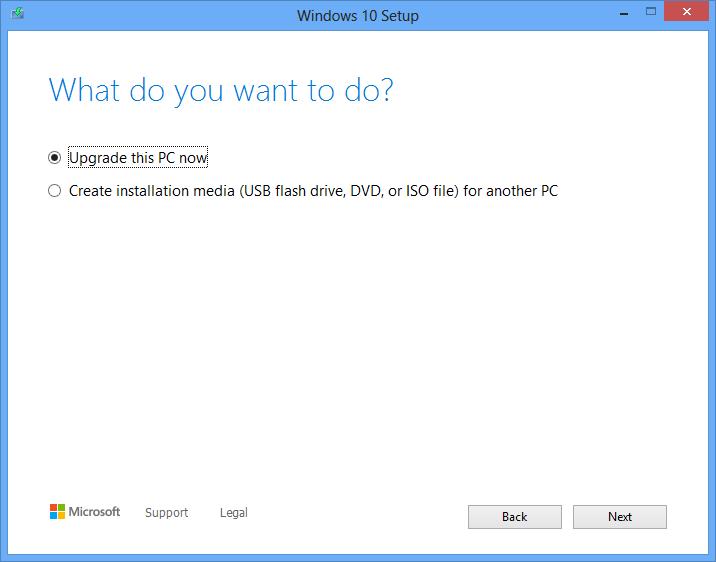 Upgrade or create installation media
