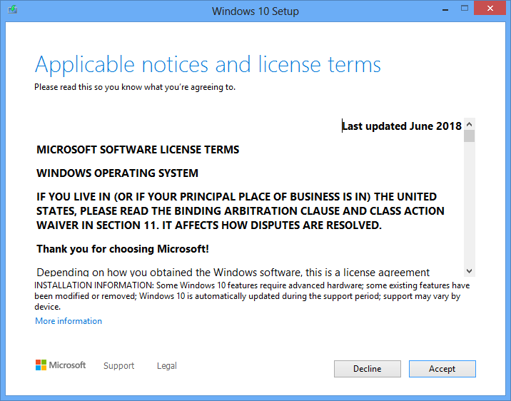 Windows 10 installation license