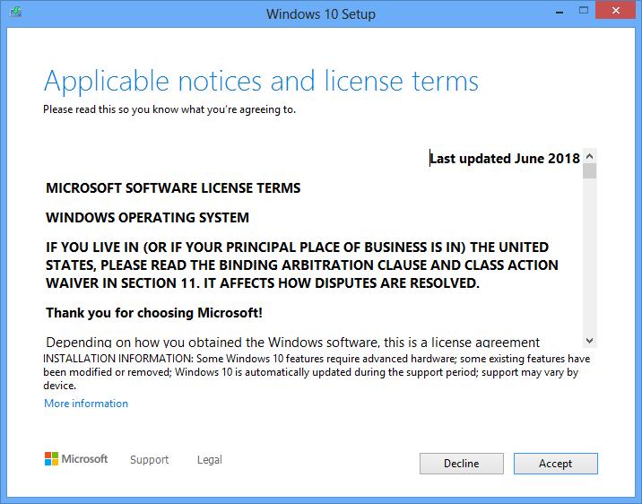 Windows 10 installation license