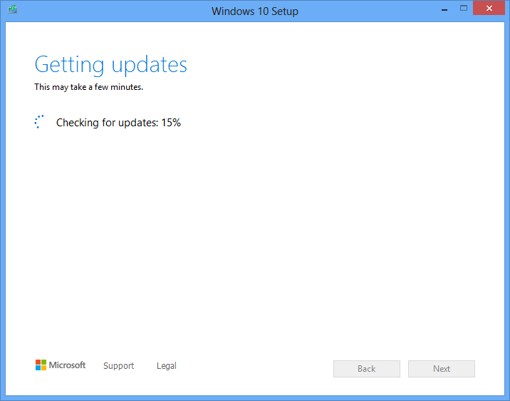 Downloading Windows 10 updates