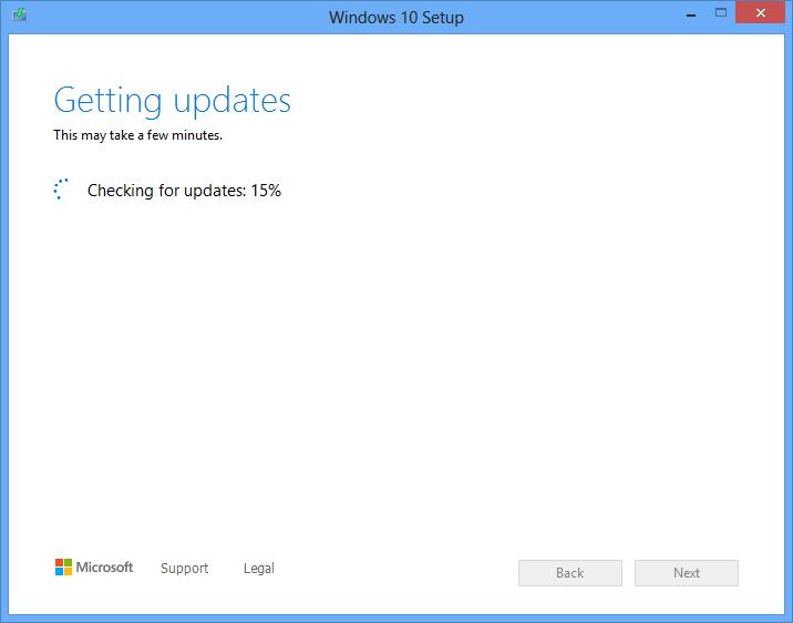 Downloading Windows 10 updates