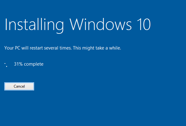 Windows 10 installation in progress