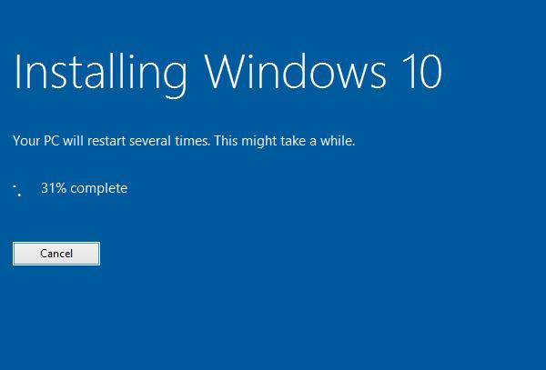 Windows 10 installation in progress